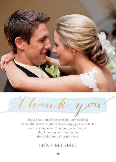 Wedding Thank You 5x7 Folded Cards, Premium Cardstock 120lb, Card & Stationery -Married Hearts - Thank You