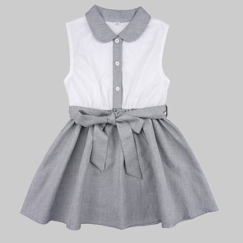 Girl's Lace-up Turn-down Collar Sleeveless Casual Dress For 1-5Y