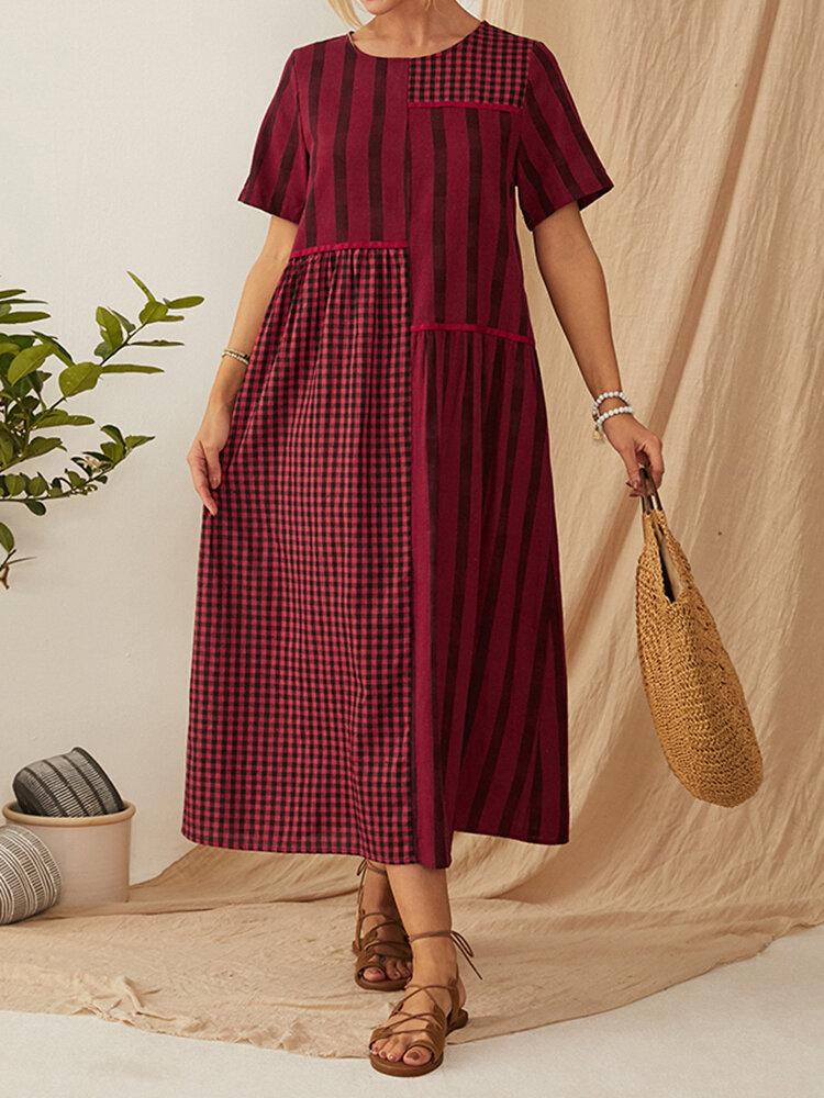 Striped Plaid Patchwork O-neck Short Sleeve Midi Dress