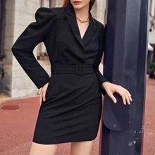 Notch Collar Gigot Sleeve Buckle Belted Dress