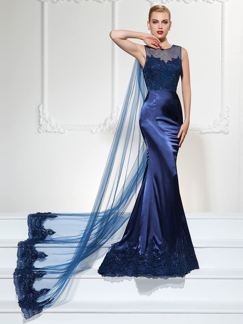 Ericdress Scoop Neckline Lace Applique Floor Length Mermaid Evening Dress With Tulle Cape