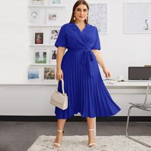 Plus Self Belted Pleated Shirt Dress