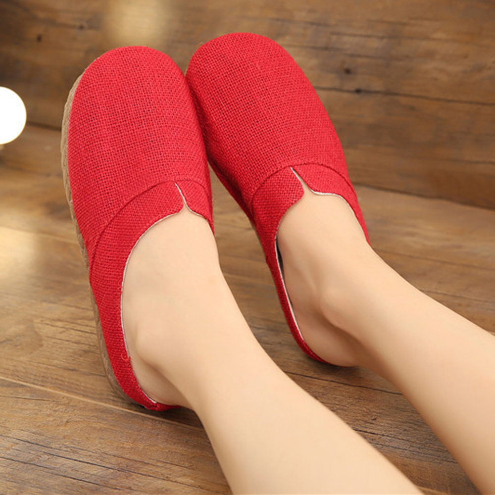 Large Size Women Comfy Flax Closed Toe Flat Slippers