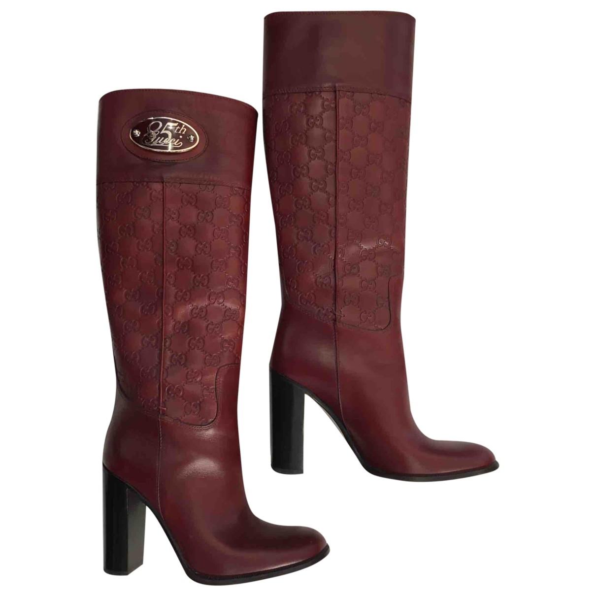 Gucci \N Stiefel in  Bordeauxrot Leder