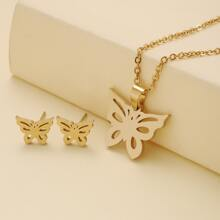 3 Stuecke Jewelry Set mit Schmetterling Dekor