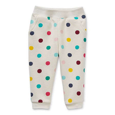 Okie Dokie Baby Girls Cinched Pull-On Pants, Newborn , White