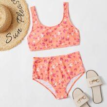 Bañador bikini de cintura alta con estampado de mariposa