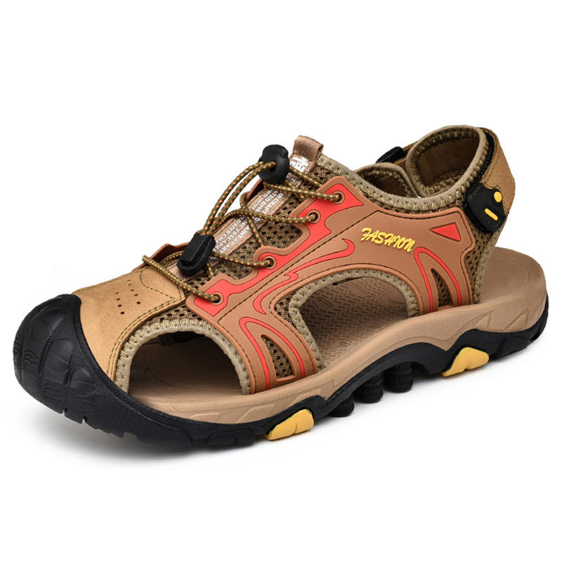 Anti-Collision Toe Outdoor Hiking Genuine Leather Sandals