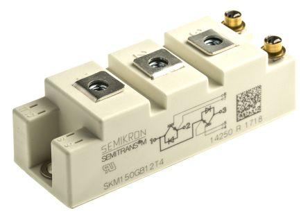 Semikron SKM150GB12T4 , SEMITRANS2 , N-Channel Dual Half Bridge IGBT Module, 232 A max, 1200 V, Panel Mount