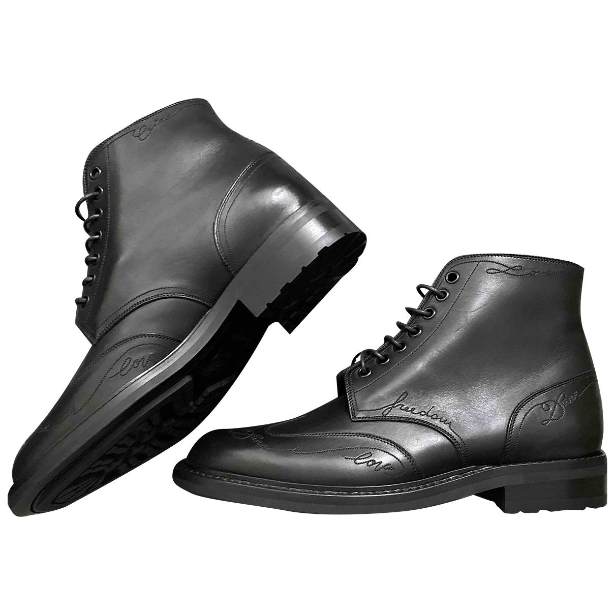 Saint Laurent Army Black Leather Boots for Men 41.5 EU