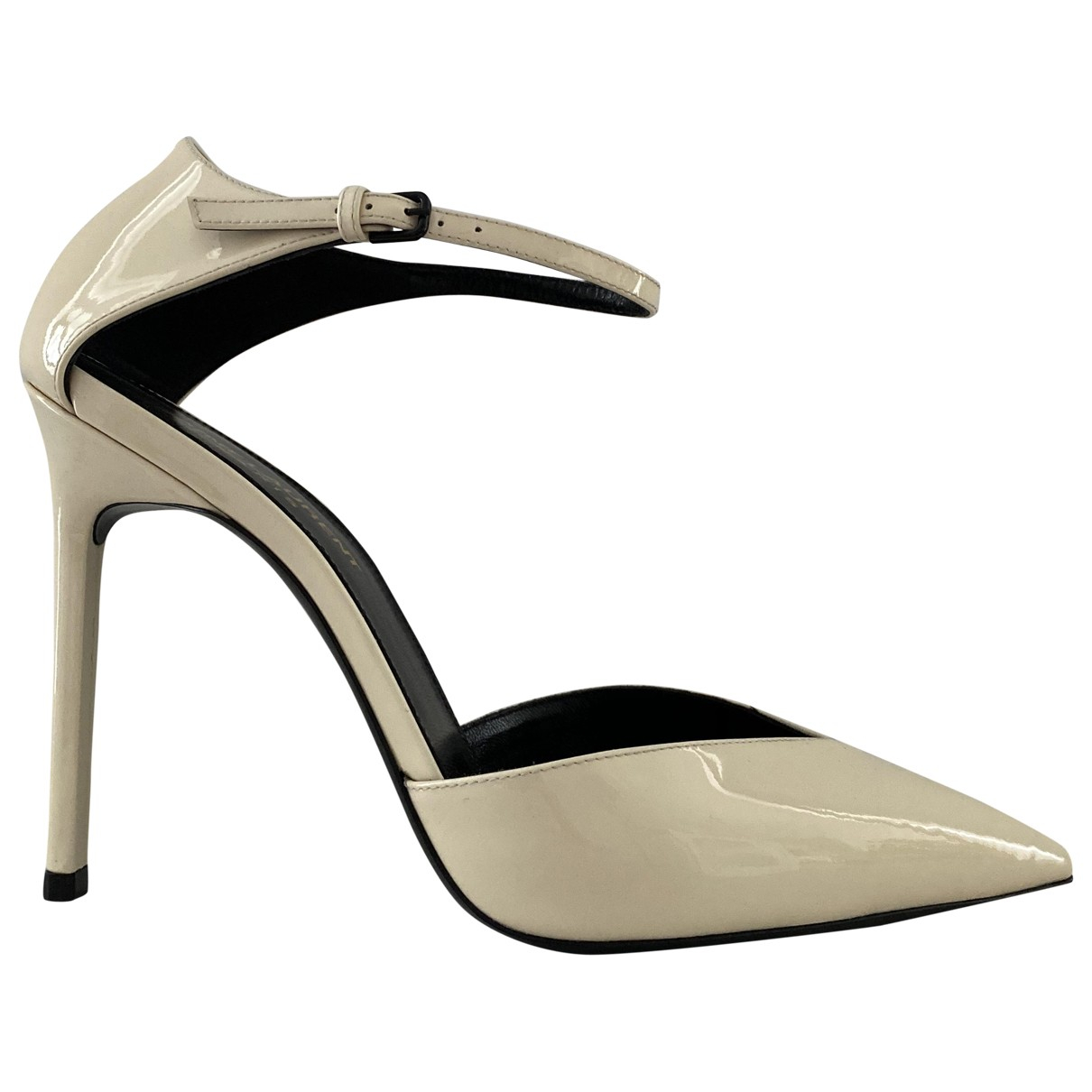 Saint Laurent \N White Patent leather Heels for Women 38 EU