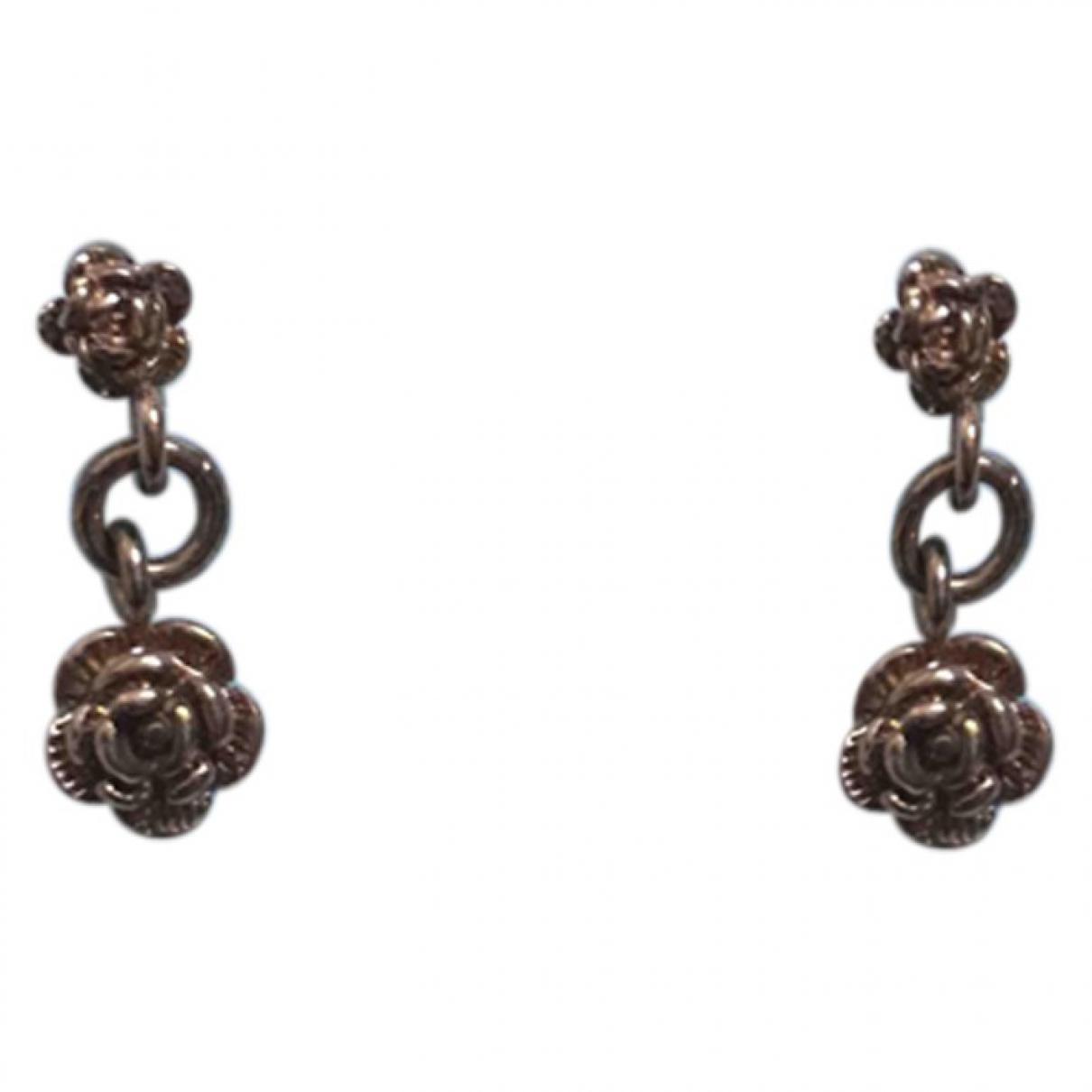- Boucles doreilles Motifs Floraux pour femme en plaque argent - rose
