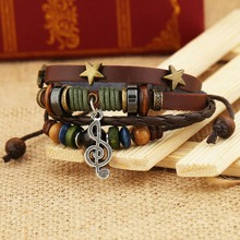 Guys Music Note Charm String Bracelet