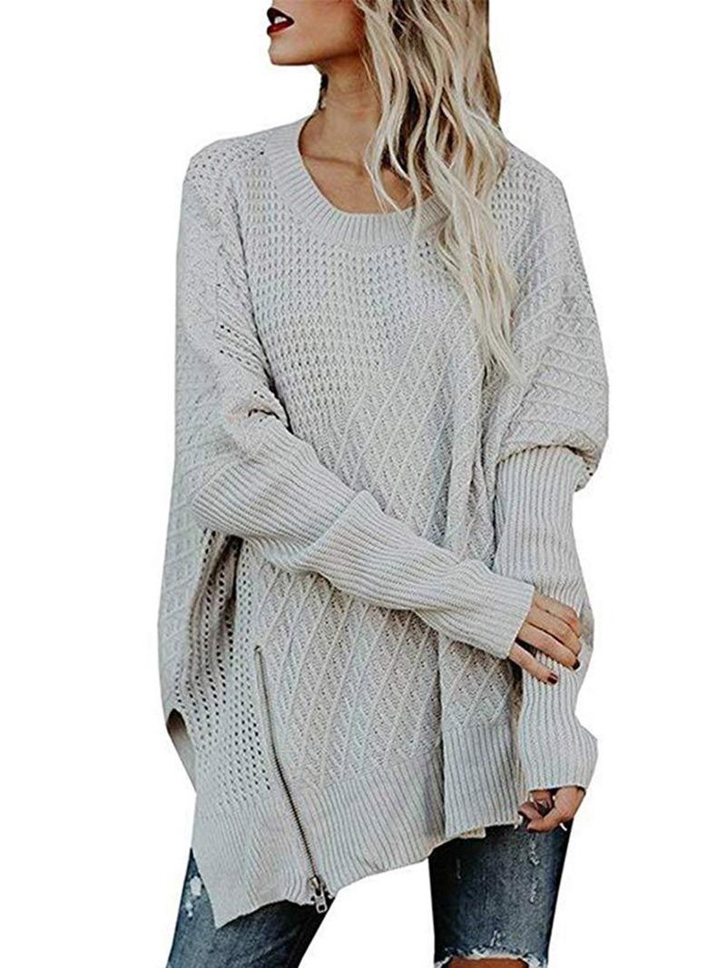 Ericdress Zipper Regular Long Sleeve Loose Sweater