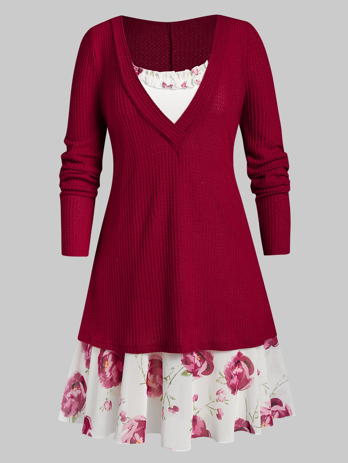Plus Size Plunging Knitwear with Ruffle Flower Print Cami Dress