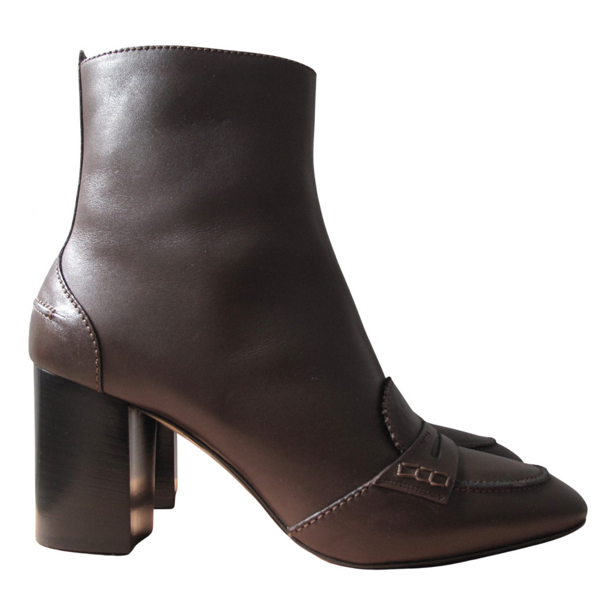 N°21 N Brown Leather Ankle boots for Women 40 EU