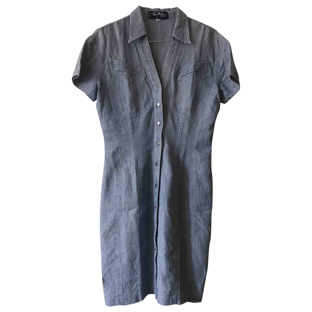 Mugler - Robe   pour femme en lin - bleu