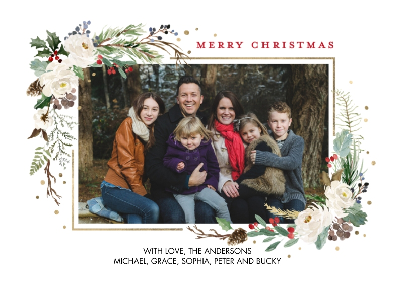 Christmas Photo Cards 5x7 Cards, Premium Cardstock 120lb with Scalloped Corners, Card & Stationery -Christmas Floral Garland by Tumbalina
