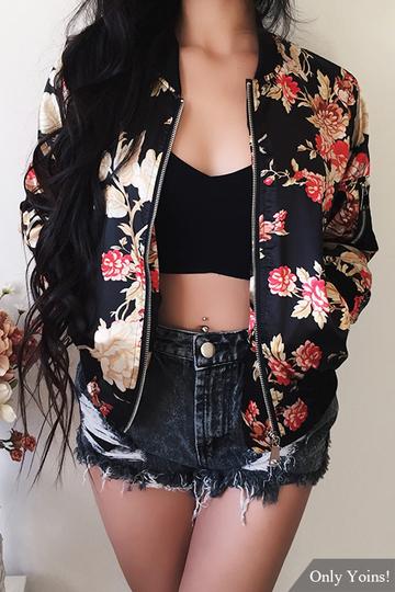 Yoins Random Floral Print Side Pockets Bomber Jacket
