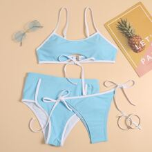 3 Stuecke Bikini Badeanzug mit Kontrast Bindung und seitlichem Band