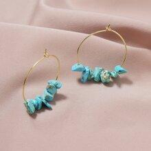 Stone Decor Hoop Earrings