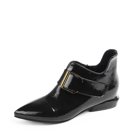 Yoins Black Zip Design Buckle Detail Ankle Boots