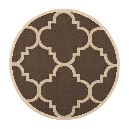 Safavieh Courtyard Collection Gina Geometric Indoor/Outdoor Round Area Rug, One Size , Brown