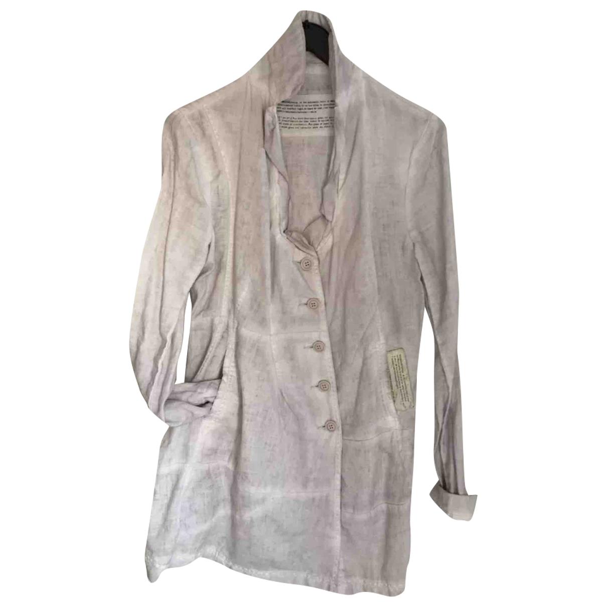 Non Signé / Unsigned \N Grey Linen coat for Women 36 FR