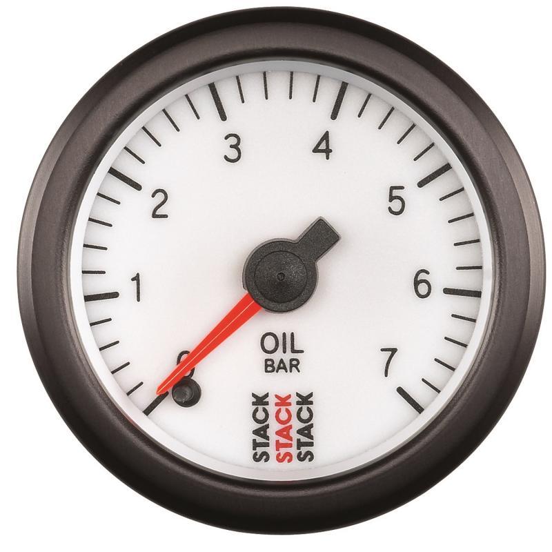 AutoMeter GAUGE; OIL PRESS; PRO STEPPER MOTOR; 52MM; WHT; 0-7 BAR; M10 MALE