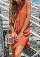 V-Neck Slit Sleeveless Mini Dress without Necklace - Orange
