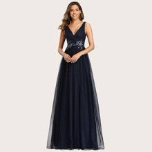 Appliques Waist Glitter Mesh Prom Dress