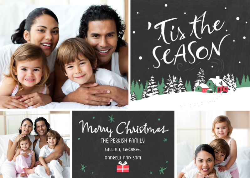 Christmas Photo Cards 5x7 Cards, Premium Cardstock 120lb with Scalloped Corners, Card & Stationery -Merry Season