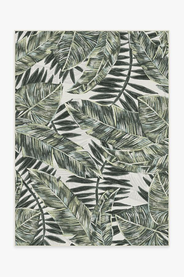 Washable Rug Cover & Pad | Outdoor Filifera Palm Green Rug | Stain-Resistant | Ruggable | 5'x7'