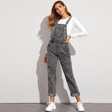 Criss-cross Back Dark Wash Denim Overalls