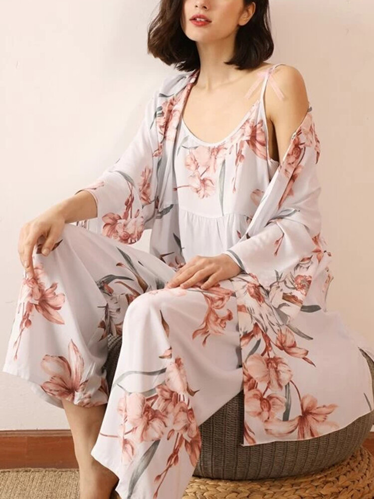 Women Floral Print 3 Pieces Home Breathable Thin Loose Pajamas Sets