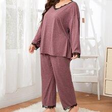 Top mit sehr tief angesetzter Schulterpartie, Spitzenbesatz & Hose Schlafanzug Set