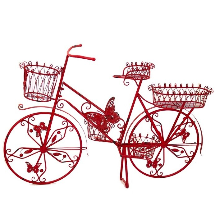 Large Iron Bicycle Plant Stand with Butterflies in Red - 56