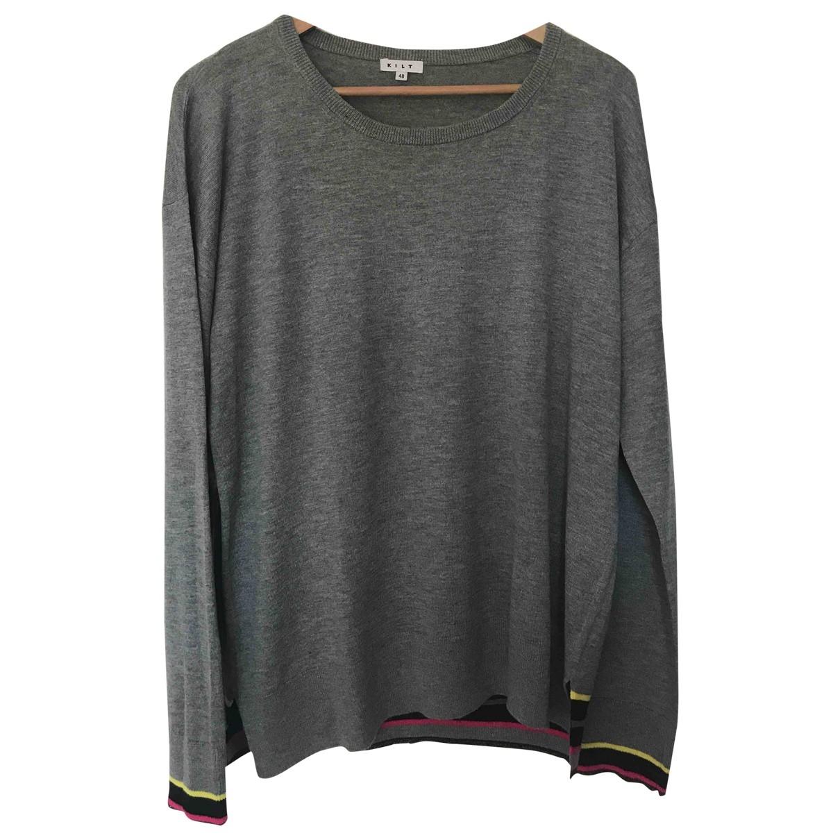 - Pull   pour femme en coton - gris