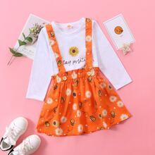 Outfits dos piezas para niña pequeña Cintura con volante Floral Casual