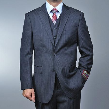 Mens Charcoal Grey 2button Vested Suit