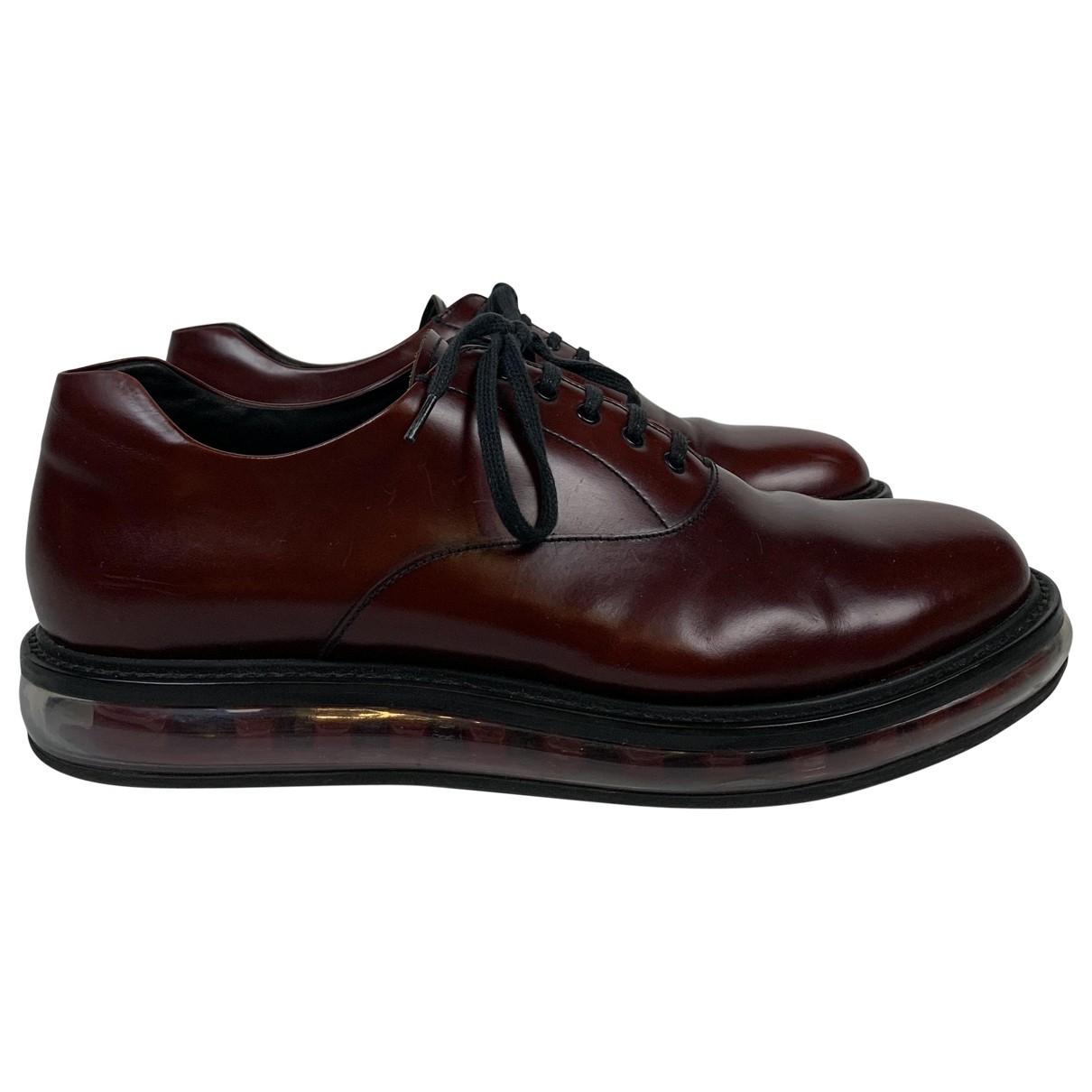 Prada \N Burgundy Leather Lace ups for Men 9 UK