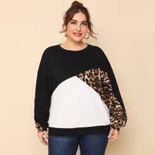 Plus Drop Shoulder Leopard Panel Colorblock Pullover