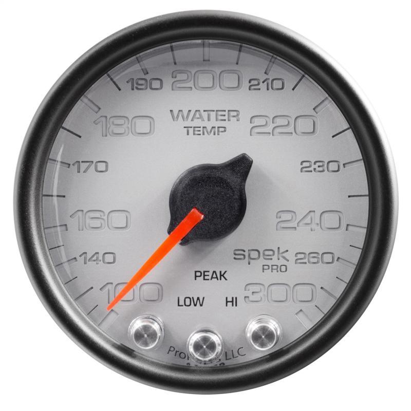 AutoMeter GAUGE; WATER TEMP; 2 1/16in.; 300deg.F; STEPPER MOTOR W/PEAK/WARN; SLVR/BLK; SPE