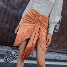 Tie Front Fringe Hem Asymmetrical Skirt