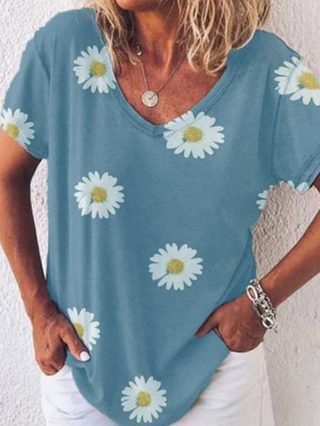 Milanoo Mujeres camisetas gris claro estampado floral margarita joya cuello casual camiseta