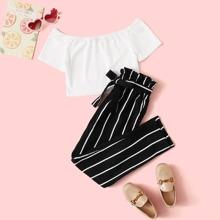 Conjunto de niñas camiseta corta tejida de canale con pantalones de rayas de cintura con volante