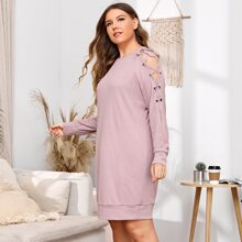 Plus Solid Lace Up Night Dress