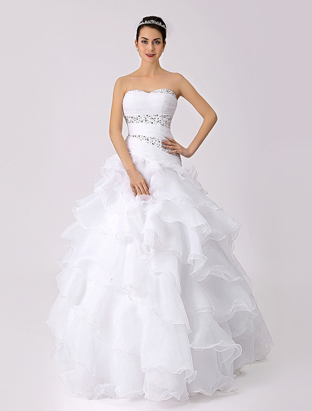Milanoo Strapless Ruffled A-line Wedding Dress with Beads Detailing