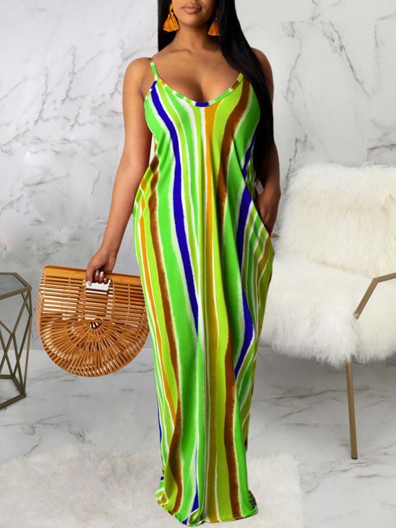 Ericdress V-Neck Print Floor-Length Spaghetti Strap Straight Dress