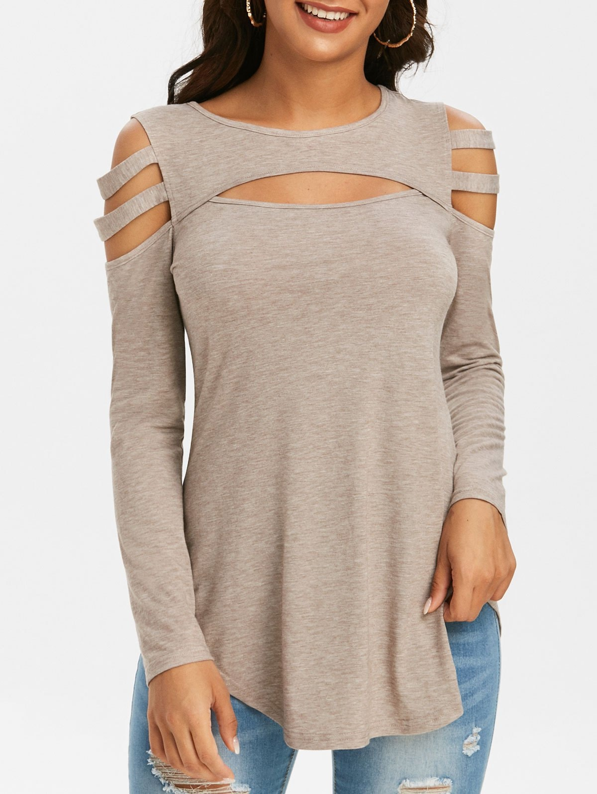 Cold Shoulder Cutout T Shirt